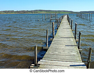 Wooden pier jetty on the beach Denmark - Wooden pier jetty...