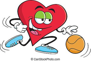 Cartoon Basketball Heart - Cartoon illustration of a heart...