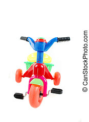 plastic toy bicycle isolated on white background