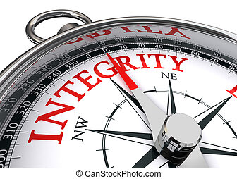 integrity conceptual compass - integrity red word indicated...