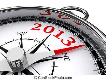 nouveau, année, 2013, conceptuel, compas