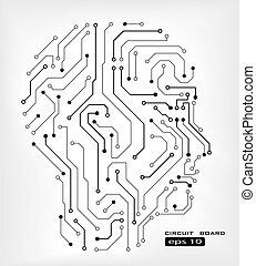 circuit human head - circuit abstract human head vector...