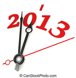 new year 2013 concept clock closeup on whte background