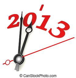 nouveau, année, 2013, concept, horloge