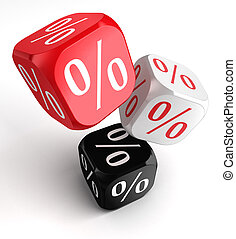 per cent symbol on dice cubes red white black clipping path...