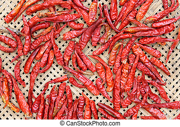 Red hot chili peppers drying