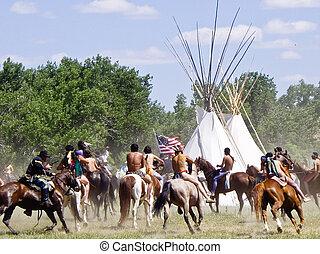Battle of Bighorn reenactment - Locals re-enact Custer's...