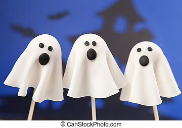 Ghost cake pops - Round-shaped mini cakes decorated with...