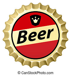 Beer cap - Red beer cap Illustration of designer on white...