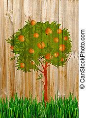 Apple Tree Painting on fence
