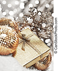 Silver Christmas gift with baubles decorations - Silver gift...