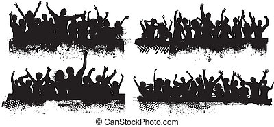 Grunge crowd scenes - Collection of four different grunge...