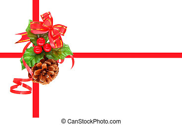 Holly berry and pine cone as Christmas ornament isolated on...