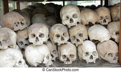 Skulls and bones in Killing field