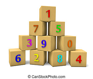 numbered cubes - Wooden numbered cubes, mathematics abstract...