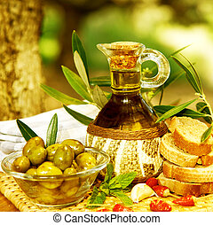 Olive oil still life - Photo of olive oil still life,...