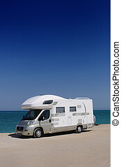 Camper van on the beach
