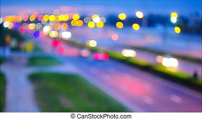 Traffic,light blur timelapse - Traffic on the road,Bangkok...