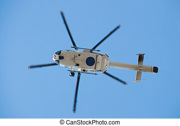 Helicopter - Police helicopter in flight seen form the...