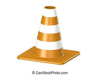 Traffic Cone - Rendered artwork with white background