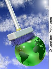 Clean the planet - A big white broom cleaning earth globe...