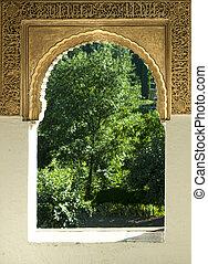 islamic, arabescos, arco, Janela