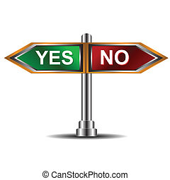Sign yes and no