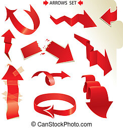 Set of different paper red arrows