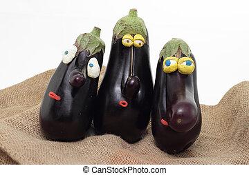 eggplant trio - three nosed eggplants with plasticine eyes