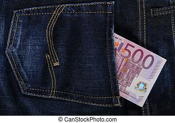 Taschengeld - Geldschein in der Jeanstasche