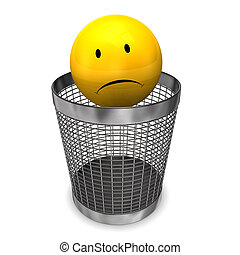 Wastebasket Yellow Sadly Smiley - Yellow sadly smiley on the...