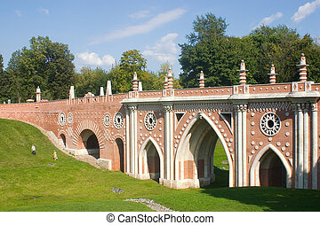 Bridge in Tsaritsyno - Park Tsaritsyno in Moscow. Big bridge