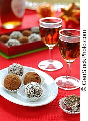 Prune and Nut Truffles - Truffles, two shots of liqueur,...