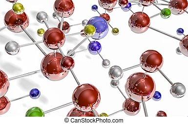 render,  metal, branca,  3D, isolado, átomos, interconectado