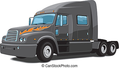 Semi truck - Vector isolated black semi truck on white...