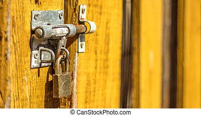 lock on wooden door