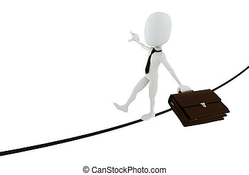 3d man businessman in equilibrium on a thin rope