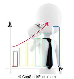 3d man business man drawing a   graph