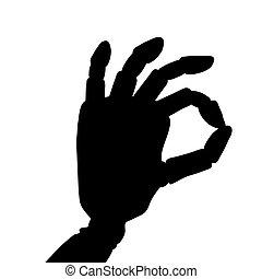 """Robotic hand giving the """"okay"""" sign."""