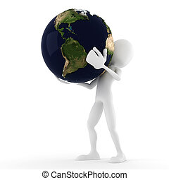 3d man holding the earth, isolated on white