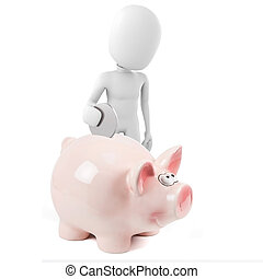 3d man and pink piggy bank