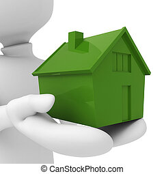 3d man holding a miniature house in his hands