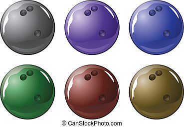 Bowling Ball - Illustration of a shiny bowling ball in six...