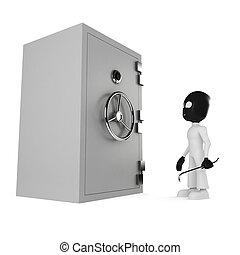 3d man burgler, isolated on white