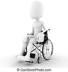 3d man in a wheelchair, isolated on white background