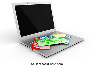 3d laptop and credit card, E-commerce concept