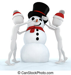 3d man and a funny snow man