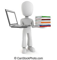 3d man holding a laptopp and some books