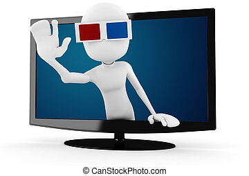 3d man with 3d glasses popping out form a tv