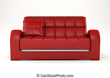 3d red couch